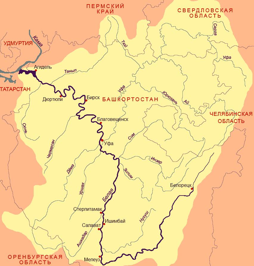 река Ашкадар – длина 165 км,