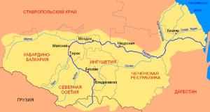 Карта реки Терек