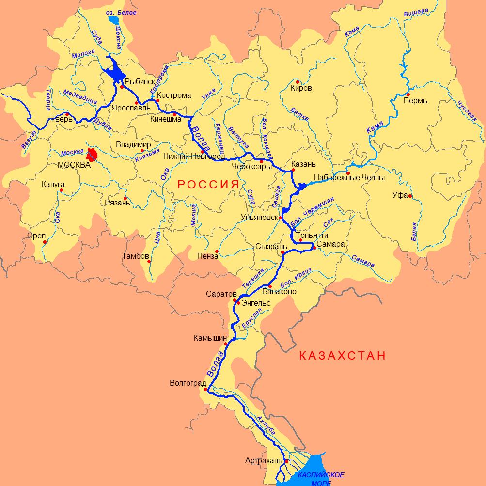 Река Волга (карта)
